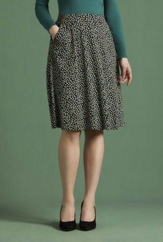 zwarte a-lijn rok met bloemenprint sofia midi skirt 05579