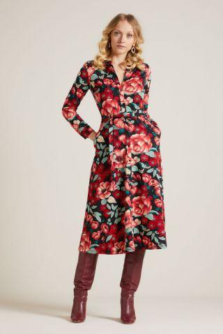 klassieke jurk met bloemen dessin olive midi dress kimora 05648