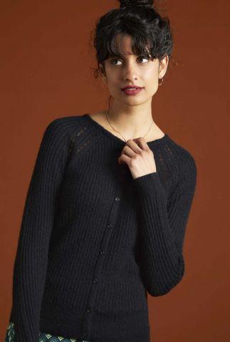 zwart vest met knoopsluiting cardi roundneck fluffy 05905
