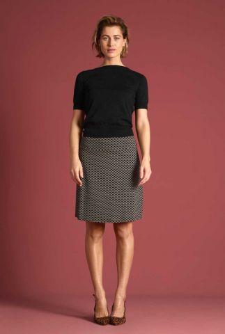 zwarte a-lijn rok met grafische print border skirt fresno 05930
