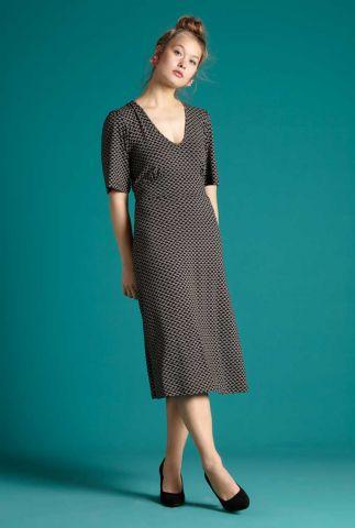 zwarte midi jurk met grafische print shiloh dress fresno 05932