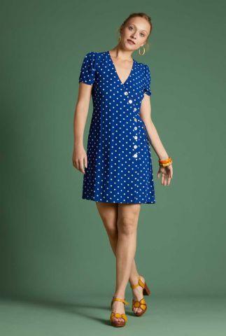 blauwe overslag jurk met stippen print zuma dress short pablo 05941