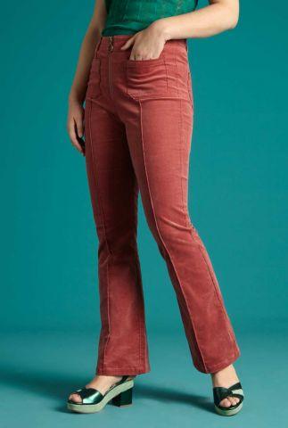 roze rib velours broek ida front zip flared pant babyrib 05978