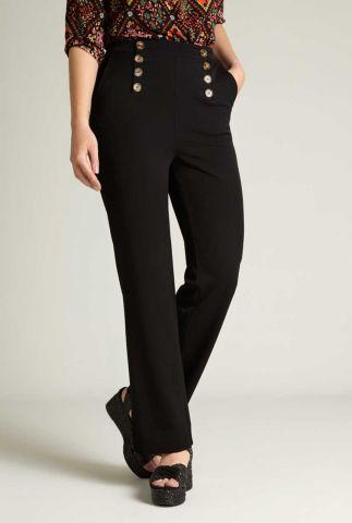 zwarte flared broek met knopen lara sailor pants broadway 05982