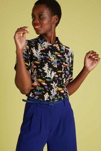 zwarte blouse met koraal en vissen dessin ella big sur 06010