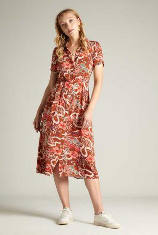 blouse jurk met botanische print 06014 rosie midi lei
