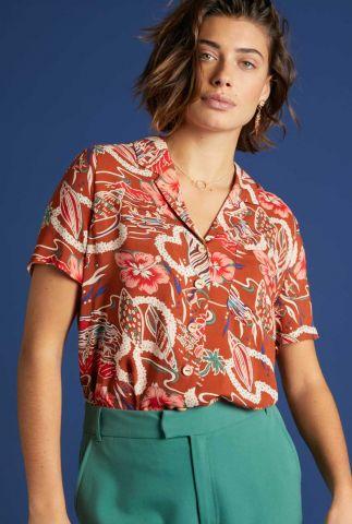 bruine blouse met botanische print 06015 ella lei