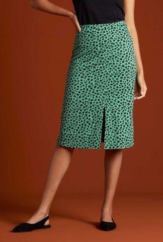 groene rok met zijsplit en luipaard dessin 06064 iris bobcat