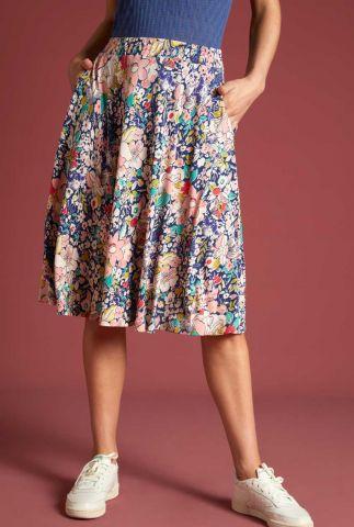 blauwe rok met bloemen print circle skirt capitola 06085