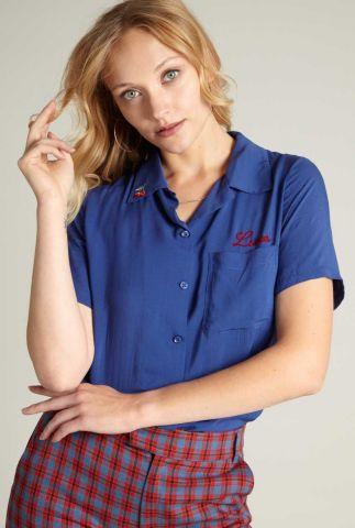 blauwe viscose blouse met broderie ella blouse coyote 06129
