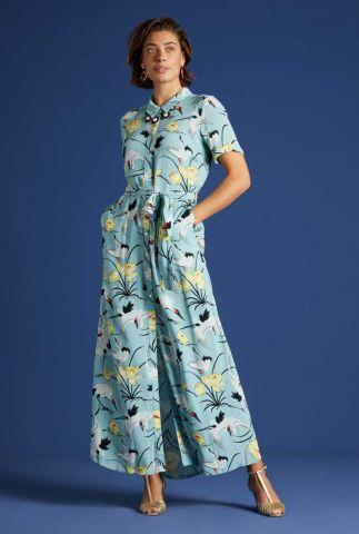 lange lichtblauwe viscose jurk rosie maxi dress del rey 06131