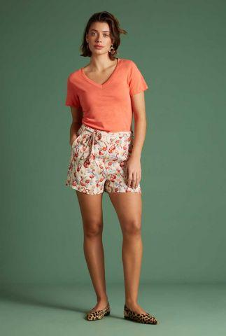 crème kleurig short met flamingo dessin roisin shorts sonny 06143