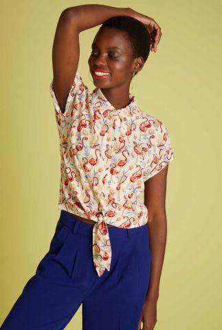 knoop blouse met flamingo print knot blouse sonny 06144