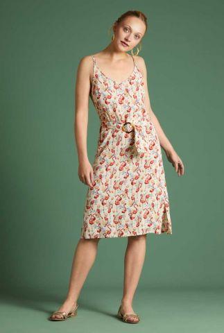 crème kleurige jurk met flamingo dessin nadya dress sonny 06145