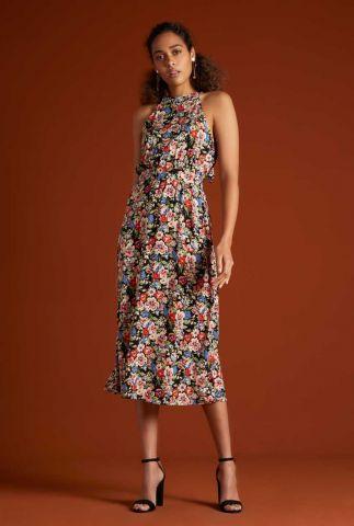 zwarte halter jurk met bloemen print danna dolores 06161