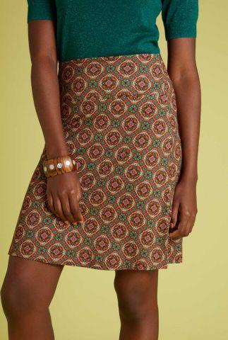 rode a-lijn rok met sierlijke print border skirt morada 06177
