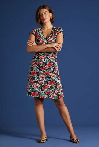 zwarte overslag jurk met bloemen dessin 06187 pacifica