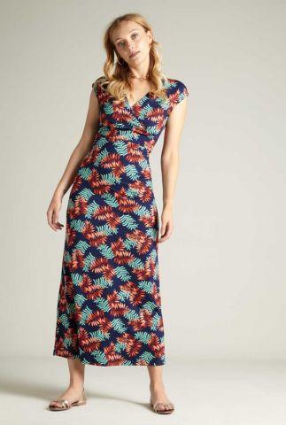 donker blauwe maxi jurk met all-over print 06192 palo verde