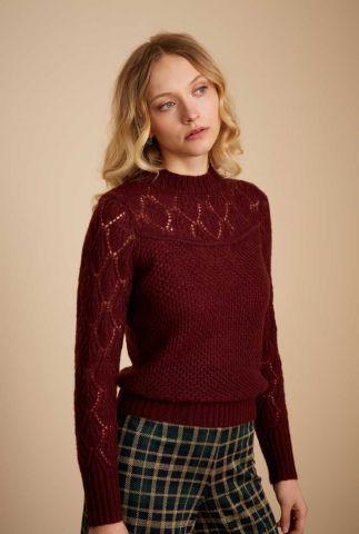 bordeaux trui met opengewerkte hals jeannie sweater farfalle 06393