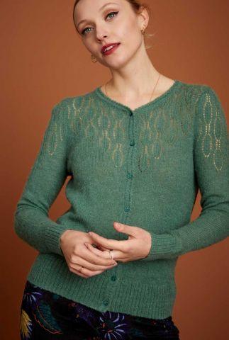 groen vestje van wolmix met ajour details yoke top 06402
