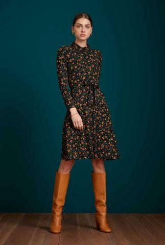 zwarte jurk met bloemen dessin sheeva dress morena 06505