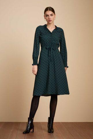 groene jurk met all-over stippen dessin emma dress pablo 06520