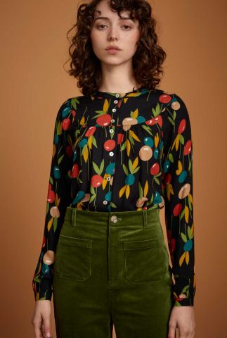 zwarte blouse met bloem dessin lisa blouse rosy lee 06524