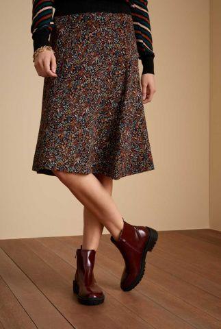 zwarte a-lijn rok met paisley print juno midi skirt wembley 06529