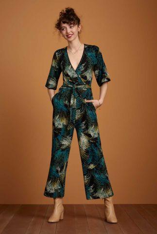 zwarte jumpsuit met botanische print en wijde pijpen zita jumpsuit 06535