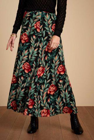 zwarte maxi rok met bloemen dessin florence 06651