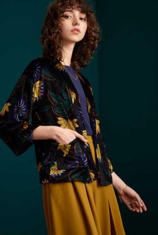zwart velours jasje met bloemen dessin noor jacket rhapsody 06719