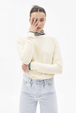 crème kleurige trui met hoge hals medinaa 10252348