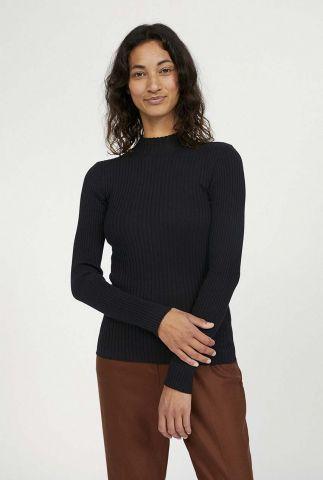 zwart col trui met rib dessin alaani 10253015