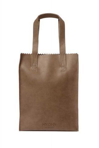bruine leren handtas my paper bag long handle zip 10270001