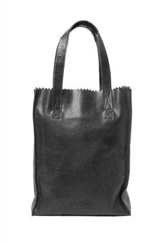 zwarte leren handtas my paper bag long handle zip 10270631