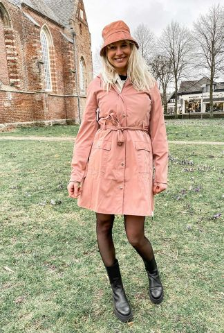 roze waterdichte regenjas met ceintuur curve jacket 1206 blush