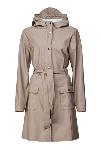 taupe kleurige regenjas met ceintuur curve jacket 1206 taupe