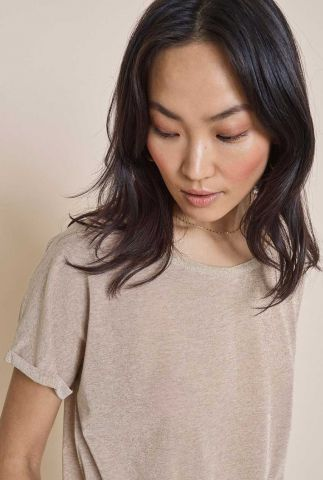 viscose glitter t-shirt met ronde hals en omgeslagen mouw 121500 kay