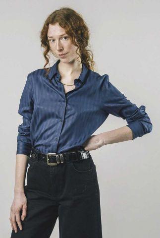 glanzende blauwe blouse met strepen dessin hidden stripes 1289