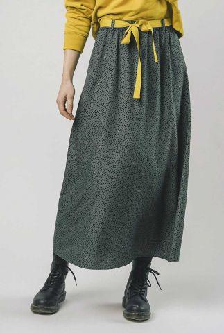 donker groene maxi rok met stippen print polka dot skirt 1309