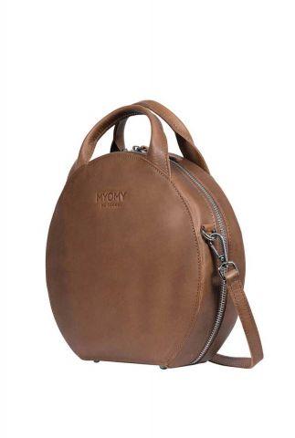 bruine leren handtas my boxy bag cookie 131020001