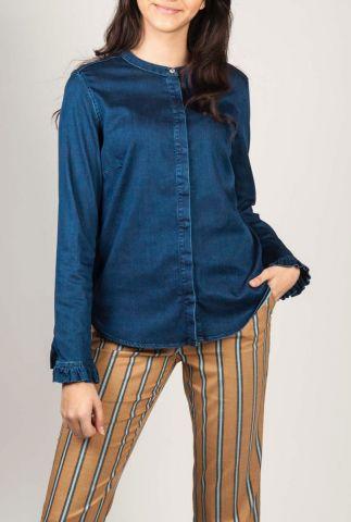 donkere denim blouse met ruffle details mattie 131760