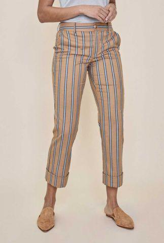 gladde cognac kleurige broek met streep dessin bella zeth 132241