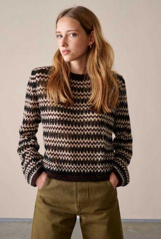 zwarte trui met ingebreid zigzag patroon revis k1322s