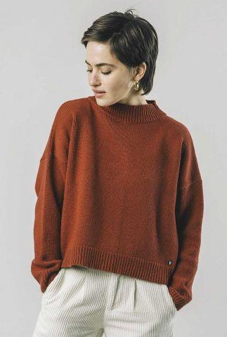 roest kleurige trui met knoop details buttons sweater 1331