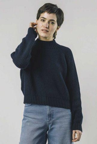 donker blauwe kort gebreide trui moscow cropped sweater 1335