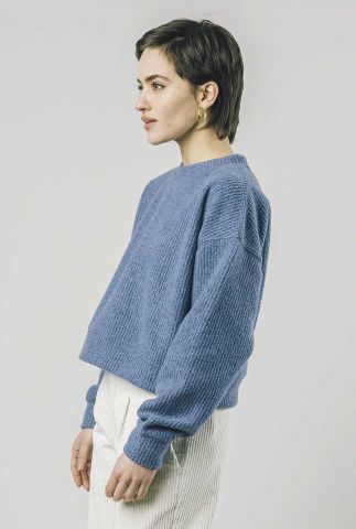 korte blauwe trui van wolmix cropped sweater 1340