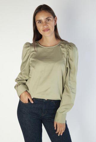 zachte groene blouse met pofmouwen gigi blouse 136070