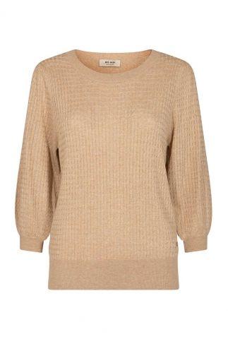 beige kleurige trui met ingebreide structuur venke 3/4 knit 136640
