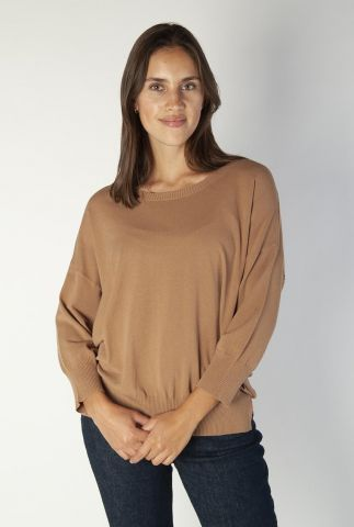 licht bruine dunne trui met 3/4 mouwen pitch 3/4 knit 136650